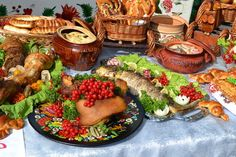 """Buy the royalty-free Stock image """"Ukrainian kitchen table eating treats"""" online ✓ All image rights included ✓ High resolution picture for print, web & S. Best Dishes, Food Dishes, Russian Dishes, Ukrainian Recipes, Ukrainian Food, Easter Table Settings, Dish Sets, Other Recipes, Paella"""
