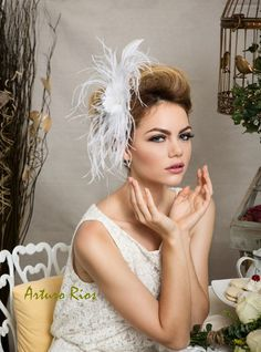 White Hand made feather flower  Bridal by ArturoRiosBridal on Etsy, $139.00