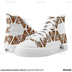 poop emoji sneakers shoes printed shoes ($106) ❤ liked on Polyvore featuring shoes, sneakers and emoji