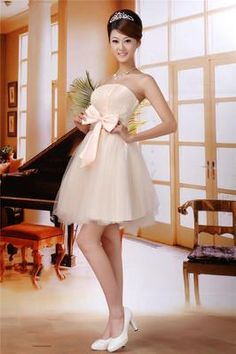 Party Lace Gauze Gown Prom Short Wedding/ bridesmaid Size M Beige Evening Dress