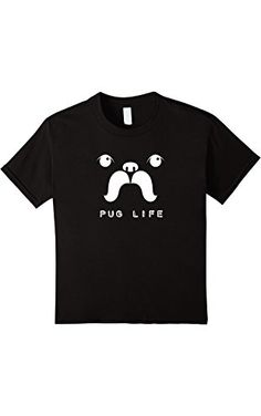 Kids Pug 'Stache - Pug Life Funny Graphic T Shirt for Men or Wome 12 Black ❤ Mustache Shirt Emporium