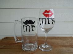 Mr & Mrs Moustache and Lips Pilsner and Wine Glass - Wedding Gift - Shower Gift - Housewarming!