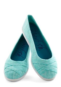 Skip in Your Step Flat in Aqua. From the riviera to a riverfront park, these woven flats by Blowfish were made for walking! #blue #modcloth