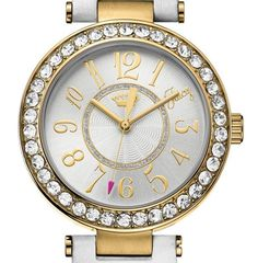 NWT Juicy Couture Ladies Gold Cali White Leather Strap Crystal Set Watch $195 #JuicyCouture