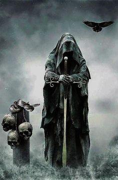Spectros Grim Reaper Art, Grim Reaper Tattoo, Dark Fantasy Art, Dark Art, Angel Of Death Tattoo, Reaper Drawing, Kopf Tattoo, Archangel Tattoo, Tattoo Ideas