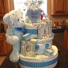 Twin boys baby shower diaper cake