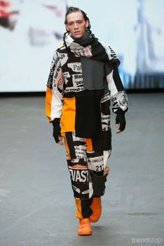 Hot off the style presses! Newsprint patchwork tracksuit by Liam Hodges Fall/Winter 2015-16