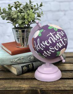Adventure Awaits Globe Floral Globe Hand-painted Globe | Etsy Globe Art, Globe Decor, Painted Globe, Hand Painted, Silver Leaf Painting, Globe Crafts, Flower Fashion, Nurse Gifts, Globes