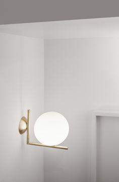 IC Light Brass designed by Michael Anastassiades for Flos Lighting Shop Lighting, Chandelier Lighting, Lighting Design, Lighting Ideas, Top Interior Designers, Lamp Light, Wall Lights, Ceiling, Home Decor