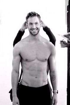 """Calvin Harris -- a singer/songwriter, record producer and DJ -- can add model to his impressive resume. The musician flexed his muscles for a shirtless high fashion photo shoot, tweeting on Dec. 16, 2014: """"Need more stepladders #Armani #BehindTheScenes #LaughingAboutSomething."""""""