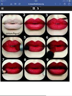 Red Lip black  liner lipstick , full lip effect
