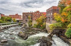magog river in autumn in sherbrooke city centre, Quebec, Canada O Canada, Quebec City, Architecture Design, Infographic, Mansions, House Styles, Water, Travel, Autumn Photography
