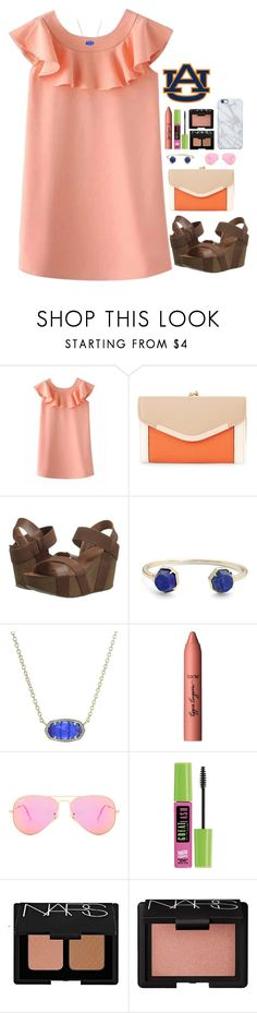 """""""Auburn game today💙🔶🐯"""" by apemb ❤ liked on Polyvore featuring New Look, MIA, Kendra Scott, tarte, Ray-Ban, Maybelline, NARS Cosmetics and Uncommon"""