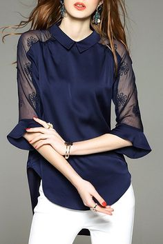 Collared High Low See Thru Blouse