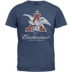 Budweiser - Mens Red Eagle Soft T-shirt - Small Dark Blue:Amazon:Clothing