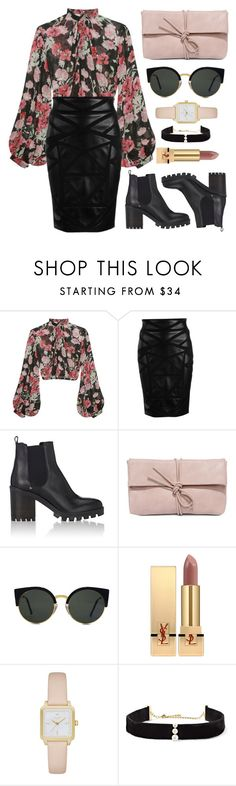 """Booties"" by the-messiah ❤ liked on Polyvore featuring Jill Stuart, Versace, Barneys New York, LULUS, RetroSuperFuture, Yves Saint Laurent, Kate Spade and Anissa Kermiche"