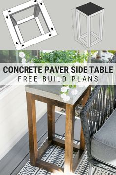 Concrete Outdoor Side Table Made From Pavers: Free Build Plans! - - This post shares the free build plans for my concrete outdoor side table made from pavers! It's a chic but cheap functional build for an outdoor space. Diy Garden Furniture, Diy Outdoor Furniture, Outdoor Decor, Modern Furniture, Antique Furniture, Bedroom Furniture, Furniture Nyc, Furniture Layout, Metal Furniture
