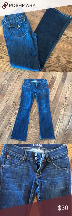 Hudson jeans size 27 boot cut Hudson jeans size 27 Dark to medium denim 29.5 inseam Good used condition Hudson Jeans Jeans