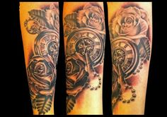 pocket watch & roses Tattoo Ideas, Tattoo Designs, Face And Body, Tattoo Inspiration, Pocket Watch, Body Art, Roses, Ink, Decoration