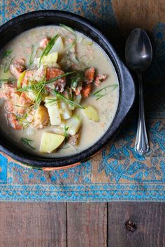 Paleo Salmon and Scallop Chowder ☺. ☺