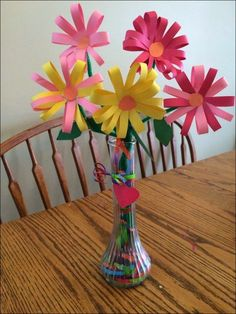 Construction Paper Flower Crafts Construction Paper Flowers Vase Filled With Gift Wrap Ribbon Kid Mothers Day Crafts For Kids, Paper Crafts For Kids, Paper Crafting, Fun Crafts, Arts And Crafts, Paper Flowers For Kids, Spring Activities, Craft Activities, Construction Paper Flowers