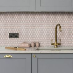 yoga penny porcelain wall tile by ca'pietra has a raku glaze and mosaic style in a number of colours Mosaic Bathroom, Mosaic Wall Tiles, Small Bathroom, Master Bathroom, Blush Bathroom, Pink Bathroom Tiles, Kitchen Splashback Tiles, Wall Tiles For Kitchen, Colourful Kitchen Tiles