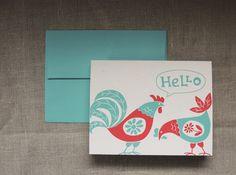 Retro modern hello chicken rooster note cards digital by giardino