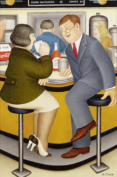 Beryl Cook (British, 1926-2008) The Loved One (Diner) 21 1/2 x 14 3/4in (55 x 37cm)