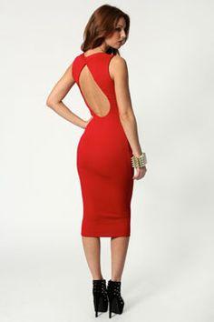 Ria Ribbed Open Back Bodycon Midi Dress