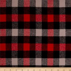 Kaufman Mammoth Flannel Plaids Red from @fabricdotcom  Designed for Robert Kaufman Fabrics, this soft double napped (brushed on both sides) medium weight (6.4 oz per square yard) flannel is perfect for shirts, loungewear and more! Features a yarn dyed plaid of red, black, and grey. Remember to allow extra yardage for pattern matching.