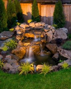 Unordinary Water Feature Front Yard Backyard Landscaping Ideas - Page 14 of 49 - Making Your Dream Home a Reality Small Backyard Ponds, Small Front Yard Landscaping, Pond Landscaping, Backyard Water Feature, Backyard Patio, Garden Ponds, Small Pergola, Pergola Patio, Small Patio