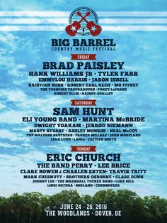 The 2016 #BigBarrel lineup has been announced! Tickets go on sale this Friday. Plan your trip at http://www.visitdelaware.com/events/big-barrel-country-music-festival.