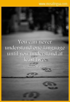You can never understand one language until you understand at least two.-mosalingua