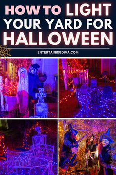 Want to add some outdoor Halloween lighting but need some ideas on what to do? Learn some great ways to add spooky outdoor Halloween decorations to your yard. #halloweenobsession #halloweendecor #spooky #halloween #yardhaunt Scary Halloween Yard, Halloween Decorations For Kids, Halloween Graveyard, Halloween Scene, Scary Halloween Decorations, Halloween Banner, Spooky Decor, Halloween Haunted Houses, Halloween Themes