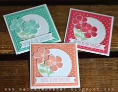 """6/29/2013; Mercedes Weber at 'Creations by Mercedes' blog; 3-1/2"""" X 3-1/2"""" cards with new In Colors"""