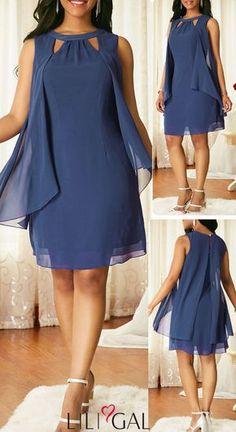 Sleeveless Blue Keyhole Neckline Chiffon Dress - Evening Dresses and Fashion Stylish Dresses, Elegant Dresses, Sexy Dresses, Dress Outfits, Evening Dresses, Casual Dresses, Short Dresses, Fashion Outfits, Fall Dresses