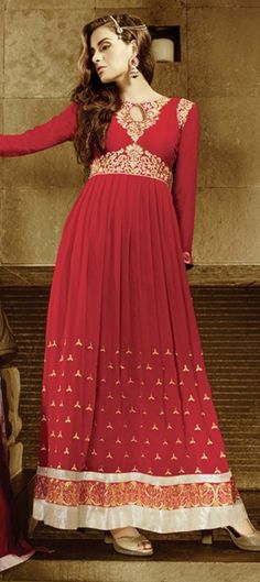 438229: Red and Maroon color family semi-stiched Anarkali Suits .