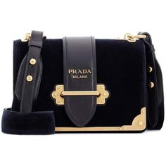Prada Cahier Leather Velvet Bag ($2,440) ❤ liked on Polyvore featuring bags, handbags, shoulder bags, purses, blue, crossbody bags, hand bags, shoulder handbags, leather shoulder bag and leather shoulder handbags