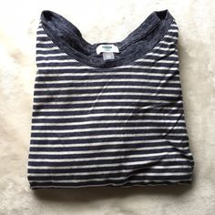 Old Navy Grey, White & Navy Striped Top Worn twice- in great condition and high quality material. It is a little shorter than expected Old Navy Tops Tees - Long Sleeve