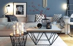 ▷ 1001 + ideas for modern and stylish deco for living room- ▷ 1001 + Ideen für moderne und stilvolle Deko für Wohnzimmer deco living room, blue wall, round and square coffee table, candles and vases - Home Living Room, Living Room Designs, Living Room Blue, Living Room Decor 2018, Living Area, Room Interior, Interior Design, Nordic Interior, Interior Modern
