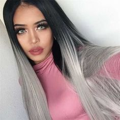 Grey Ombre Straight Synthetic Lace Front Wig-edw1015