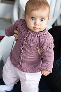 The smallest size (shown) fits 6-9 months. For the medium size (9-12 months), the pattern calls for 400-500 yards DK weight yarn and US 7 needles. For the large size (12-15 months), the pattern calls for 400-500 yards worsted weight yarn and US 9 needles.