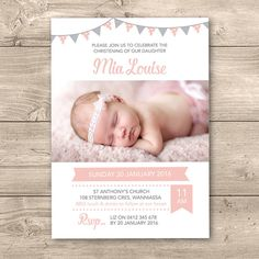 Girls Christening invitation with bunting // I customise for you to print // Personalised with photo // pink and grey bunting Christening Invitations Girl, Girl Christening, Wedding Invitations, Invites, Dedication Ideas, Baby Dedication, Baptism Party, Baptism Ideas, Naming Ceremony