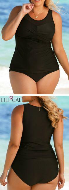b789fed7e9c7c Black Plus Size Twist Front Tankini Set #liligal #plussize #plussizefashion  #plussizeswimwear Plus. Plus Size TankiniPlus Size SwimsuitsStylish ...