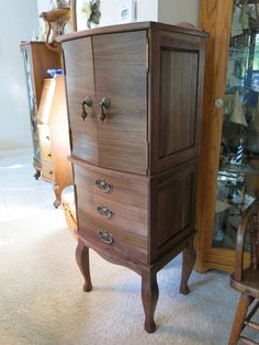 Walnut Bow Front Jewelry & Lingerie Armoire by FloridaWoodForge on Etsy https://www.etsy.com/listing/221768815/walnut-bow-front-jewelry-lingerie