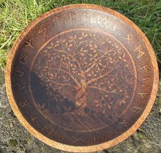 Wooden Runic bowl.