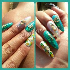My Hawaiian Mermaid & Pineapples almond shape gel nails! My open Seashells with Pink Pearls inside surrounded by Swarovski Opals and Aloha/Fishbone/Seahorse Gold Charms ♥ Follow me on Instagram @hakyree_