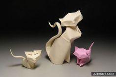 Оригами кошка и котята
