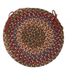 Twilight Round Braided Wool Blend Chair Pad, TL70 Rosewood