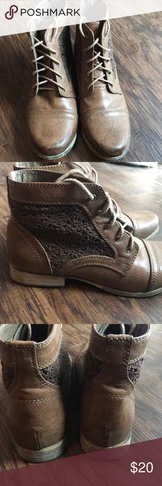 Leather booties Brown leather booties with crochet detailing Moderately worn but with a lot of life left! Wanted Shoes Ankle Boots & Booties